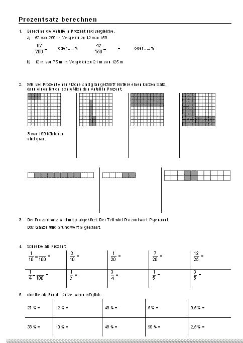 Arbeitsblätter Brüche In Prozent : Mathematik arbeitsblätter prozentangaben