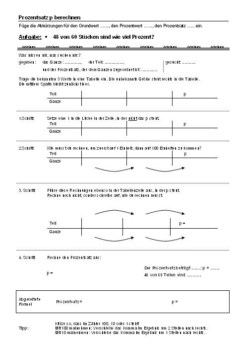 Mathematik Arbeitsblätter: Prozentsatz p brechnen