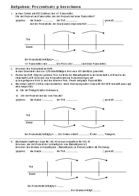 Mathematik Arbeitsblätter: Aufgaben: Prozentsatz p brechnen