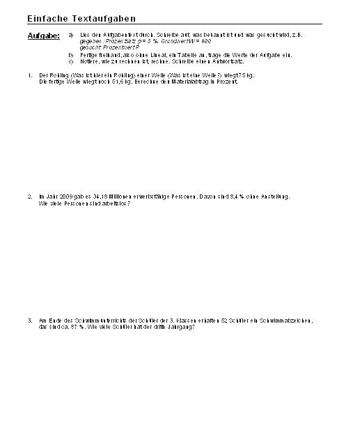 Mathematik Arbeitsblätter: Einfache Textaufgaben